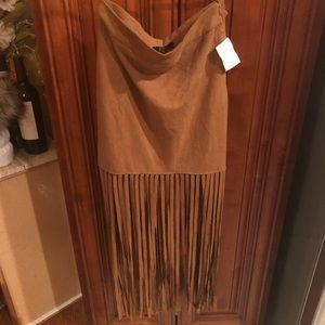 Dresses & Skirts - Suede Camel Fringe Skirt